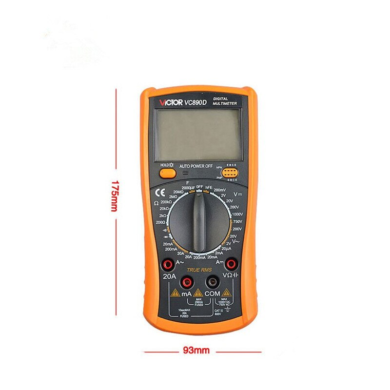 VC890D Digital Multimeter True RMS Multimeter LCD Multimeter Tester 2000UF Capacitor Temperature Measurement