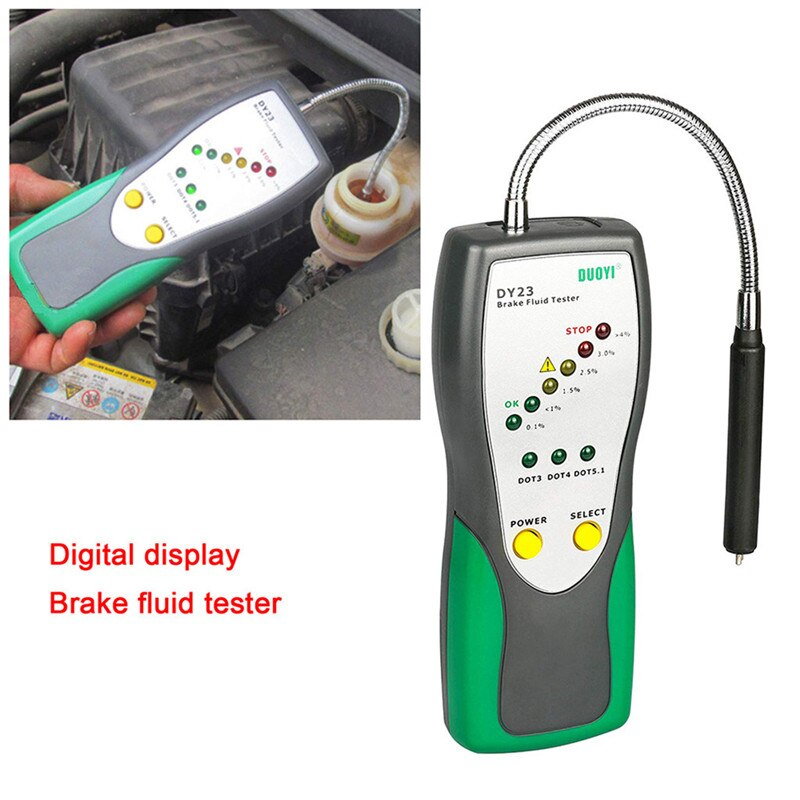DUOYI DY23 Brake Fluid Tester Oil Inspection Detector LCD DOT3 DOT4 DOT5 Goose Neck MAR22