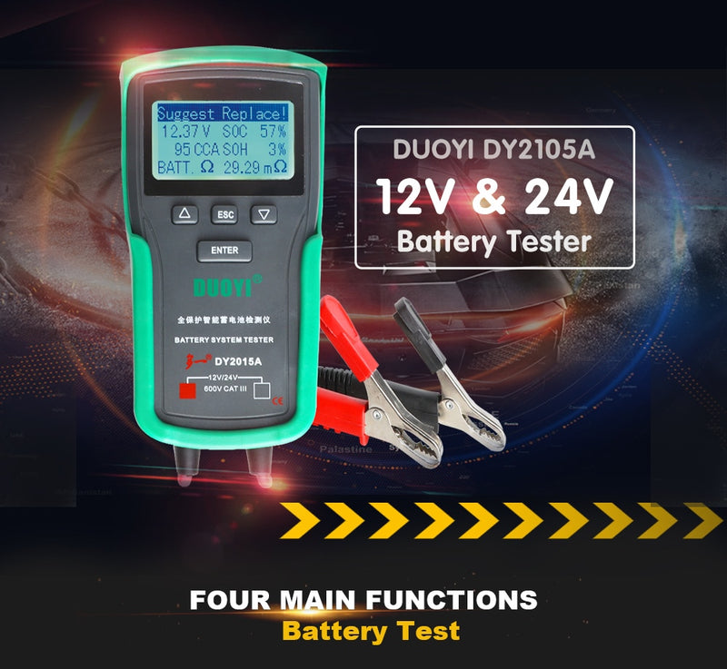 DUOYI DY2015A 12V Car Battery Tester Tools Lead Acid CCA Load Battery Charge Test Digital Automotive Battery Capacity Tester