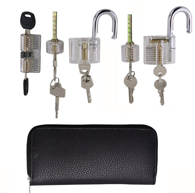 9pcs Transparent Locks with 24pcs GOSO Titanium Locksmith Tools Broken Key Remove Pick Kit Lock Practice Set