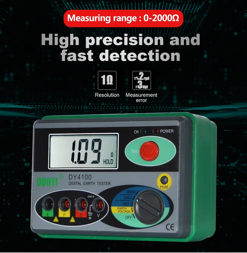 DUOYI DY4100 Megger Meter Resistance Tester Digital Megohmmeter  Earth Resistance Tester Ground 0-2000 Ohm Insulation Tester