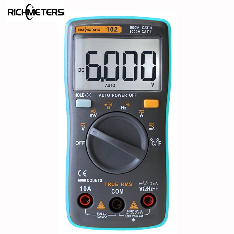RICHMETERS 102 Multimeter 6000 counts Back light AC/DC Ammeter Voltmeter Ohm Frequency Diode Temperature RM101