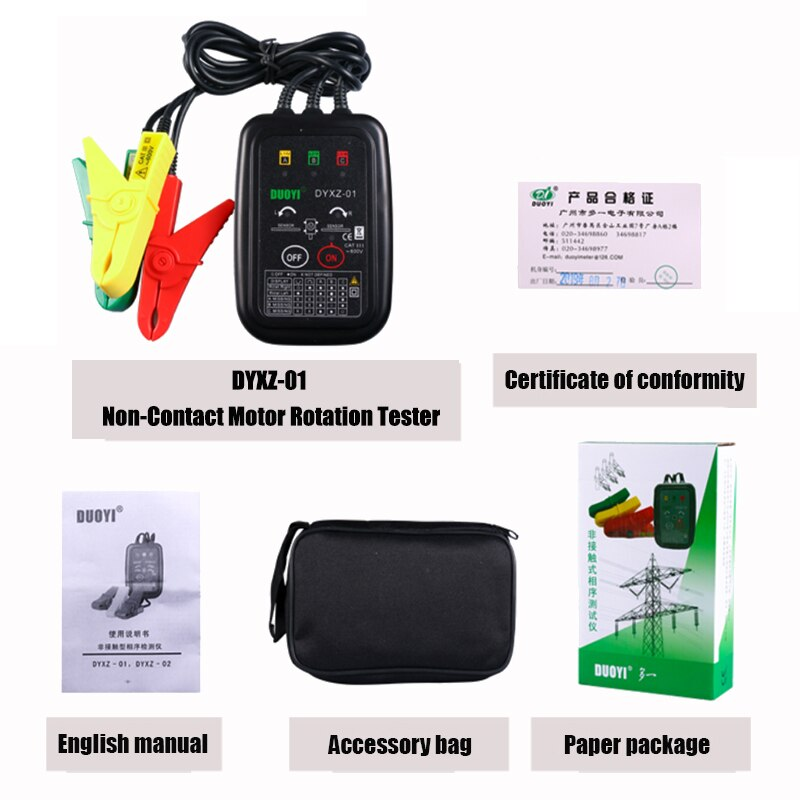 DYXZ-01 3 Phase Rotation Tester 70V~600V AC Non-Contact Phase Indicator Detectors Circuit LED Break Test Voltage Detector Meter