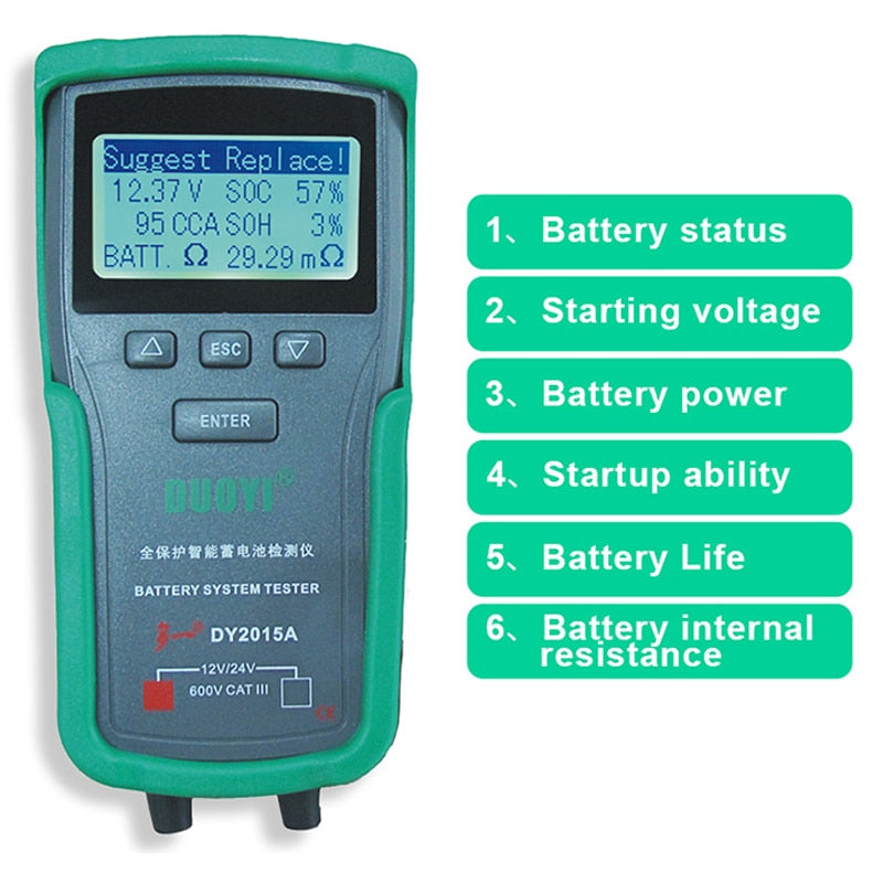 DUOYI DY2015A 12V 24V Car Battery Tester Tool Lead Acid 2000CCA Voltage Load Battery Charge Test Digital Battery Capacity Tester