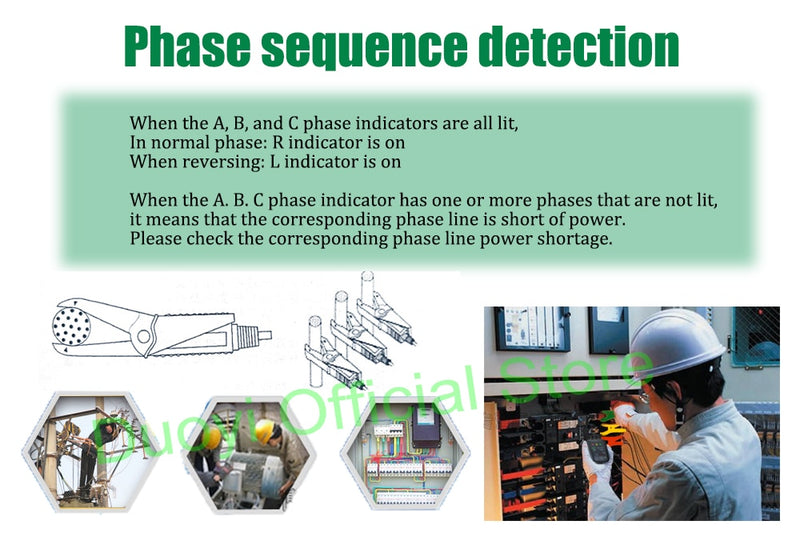 DUOYI DYXZ-01Non-Contact Phase Detectors 3 Phase Sequence RotationTester Circuit Break Test Voltage Fire line Detector Meter