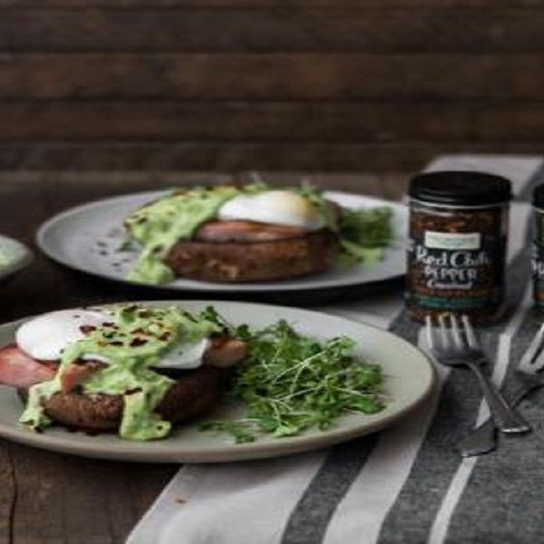 Portobello Eggs Benedict with Avocado Sauce - back-to-nature-usa