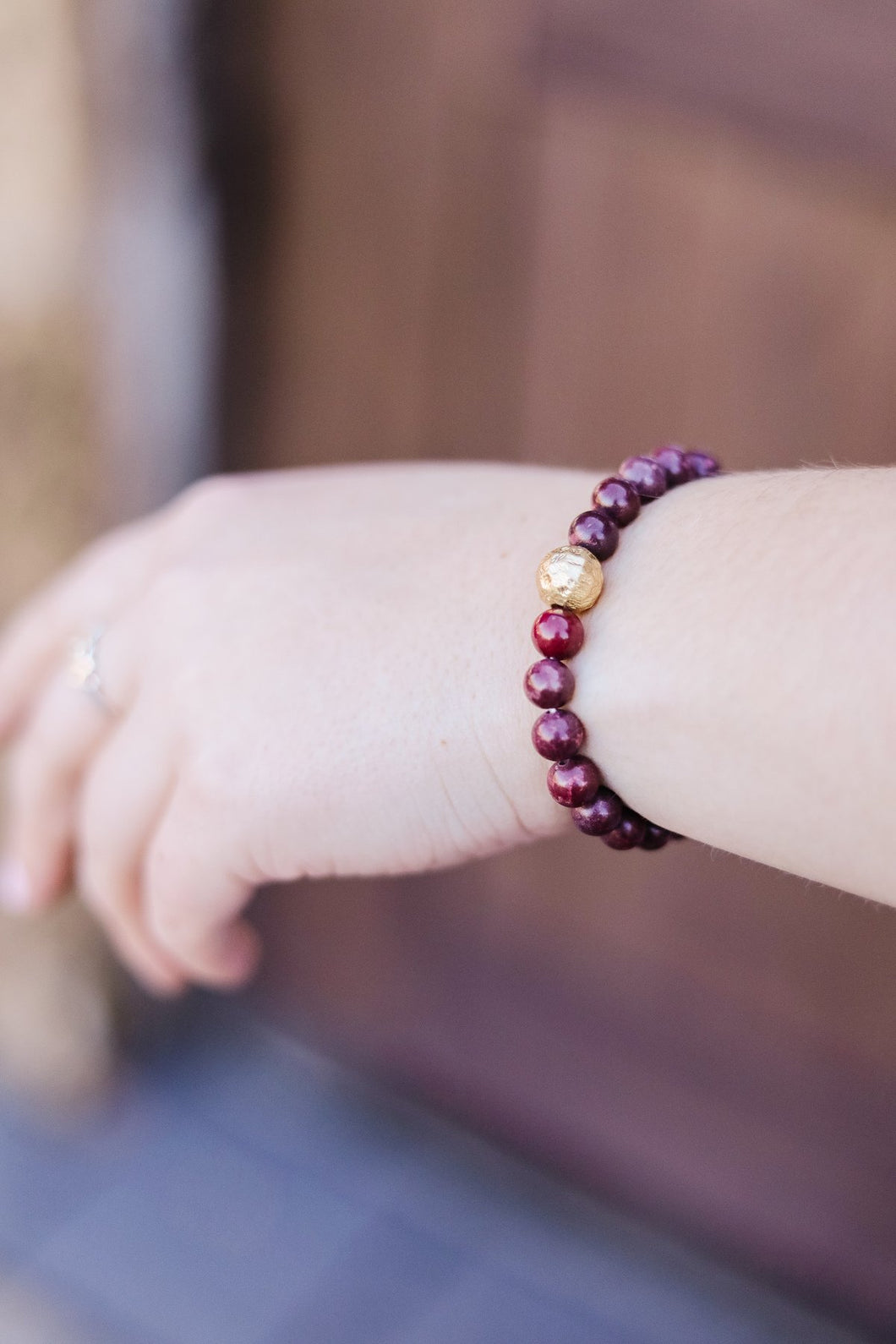 Touch Of Gold Stone Bracelet In Wine - Smith & Vena Online Boutique