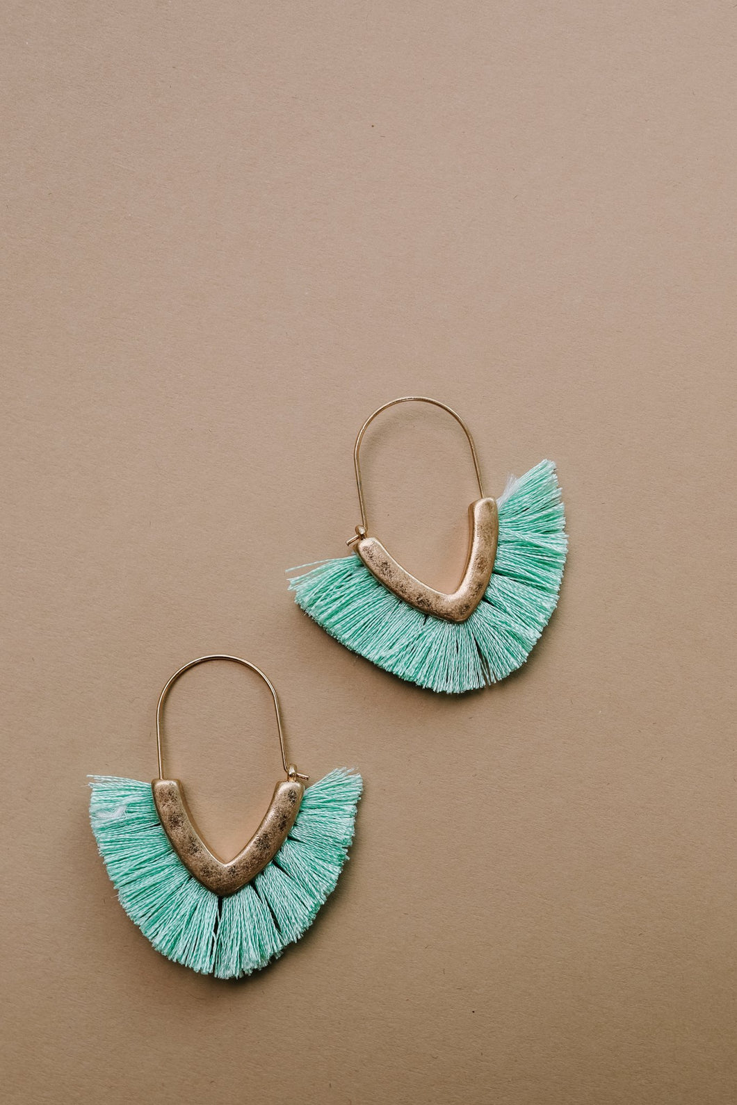 Tasseled V Earrings In MINT - Smith & Vena Online Boutique