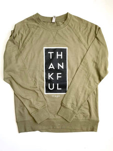 Thankful Longsleeve Graphic- Olive