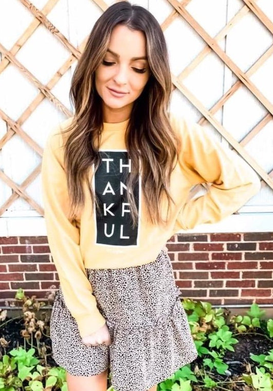 Thankful Longsleeve Graphic- Mustard - Smith & Vena Online Boutique