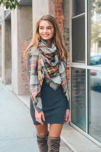 Classic Plaid Blanket Scarf- Gray/Mustard