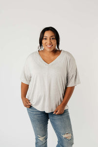 Top Stitch V-Neck In Heather Gray - Smith & Vena Online Boutique
