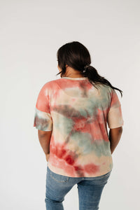 Waffle Knit Tie Dye Top In Sunrise - Smith & Vena Online Boutique