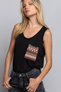 Aztec Petal Tank-Black - Smith & Vena Online Boutique