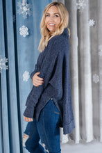 Load image into Gallery viewer, Brushed Melange Cowl Neck Sweater in Navy - Smith & Vena Online Boutique