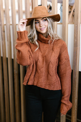 Classic Cable Knit Sweater in Ginger Spice - Smith & Vena Online Boutique