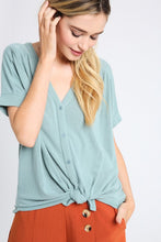 Load image into Gallery viewer, X Claudia Button Down Top - Aqua - Smith & Vena Online Boutique