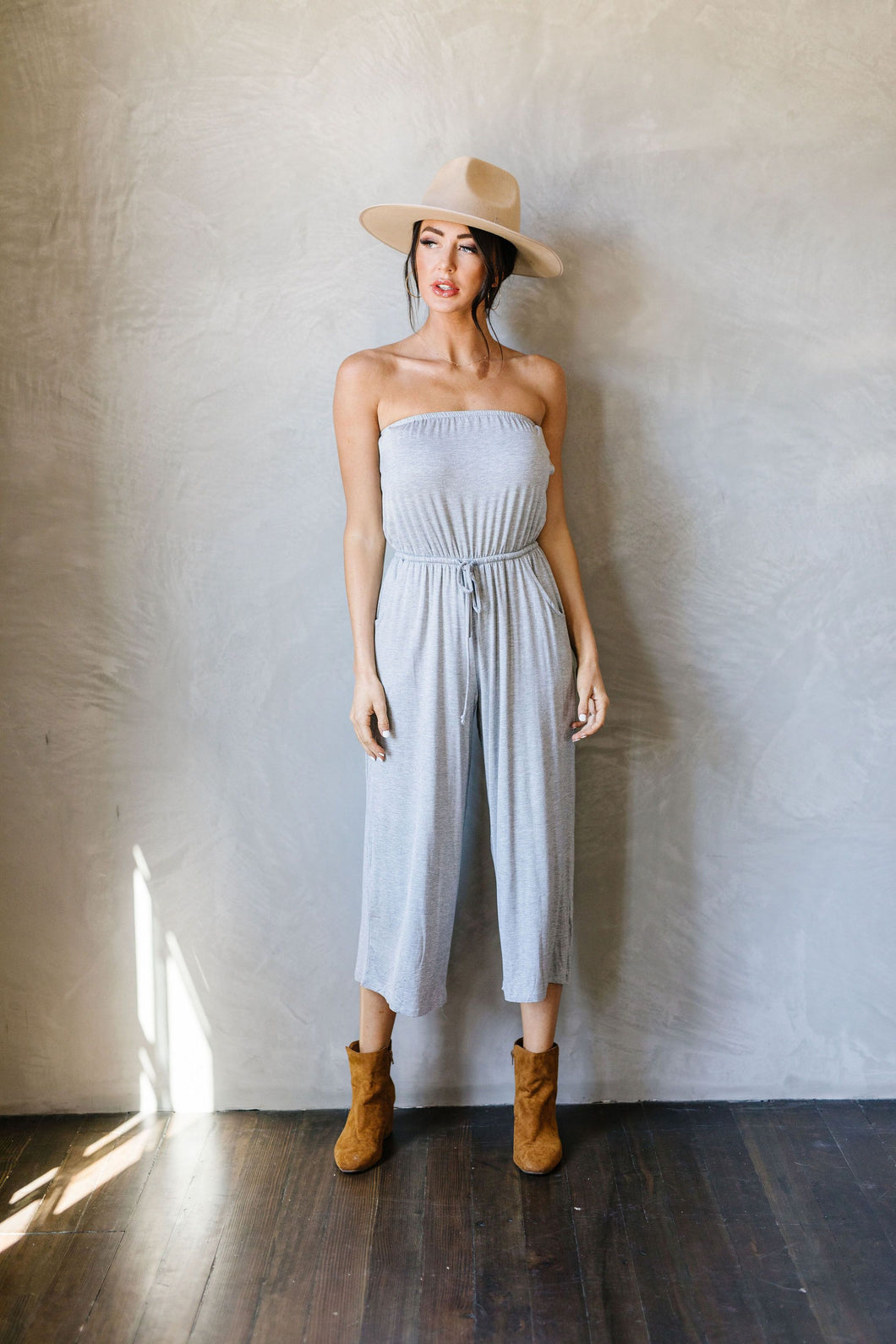 Cropped Tube Top Jumpsuit In Heather Gray - SAMPLE - Smith & Vena Online Boutique