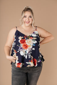 Natalie Floral Camisole-Navy - Smith & Vena Online Boutique