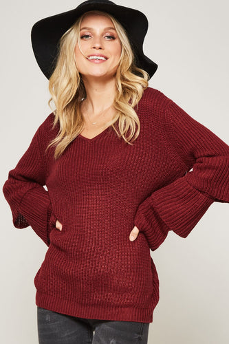 Elliot Ruffle Sleeve Sweater - FINAL SALE - Smith & Vena Online Boutique