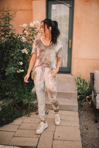 Forgotten Dreams Tie Dye Joggers In Taupe - Smith & Vena Online Boutique