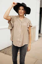 Load image into Gallery viewer, Gather Round Mocha Button Down - Smith & Vena Online Boutique