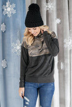 Load image into Gallery viewer, Half Camo Pullover in Charcoal - Smith & Vena Online Boutique