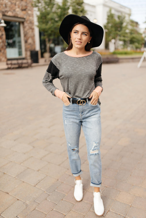 Home Base Contrast Long Sleeve Top In Black - Smith & Vena Online Boutique