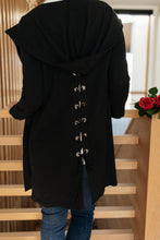 Load image into Gallery viewer, Hooded and Laced Cardigan in Black - Smith & Vena Online Boutique