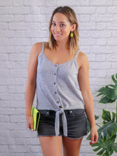 Load image into Gallery viewer, X Roman Button Tie Tank - Grey FINAL SALE