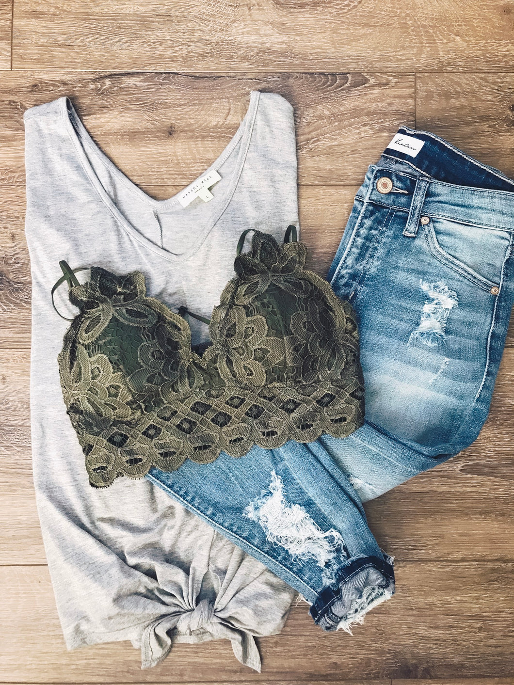 X Lacey Bralette- Olive - Smith & Vena Online Boutique