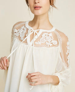 Hannah Sheer Peasant Top - Cream