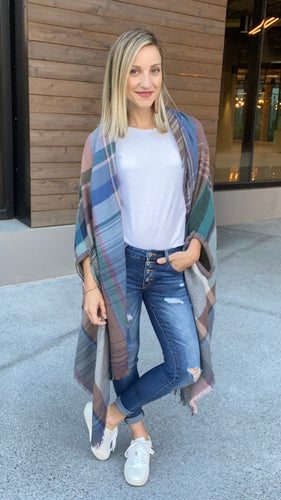 Basic Poncho in Light Gray - Smith & Vena Online Boutique