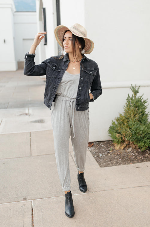 Jump In Jumpsuit In Heather Gray - Smith & Vena Online Boutique