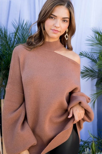 Kylie Cutout Sweater - Mocha - Smith & Vena Online Boutique