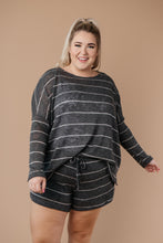 Load image into Gallery viewer, Willow Stripe Knit Pullover in Charcoal - Smith & Vena Online Boutique