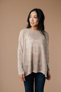 Willow Stripe Knit Pullover in Taupe - Smith & Vena Online Boutique