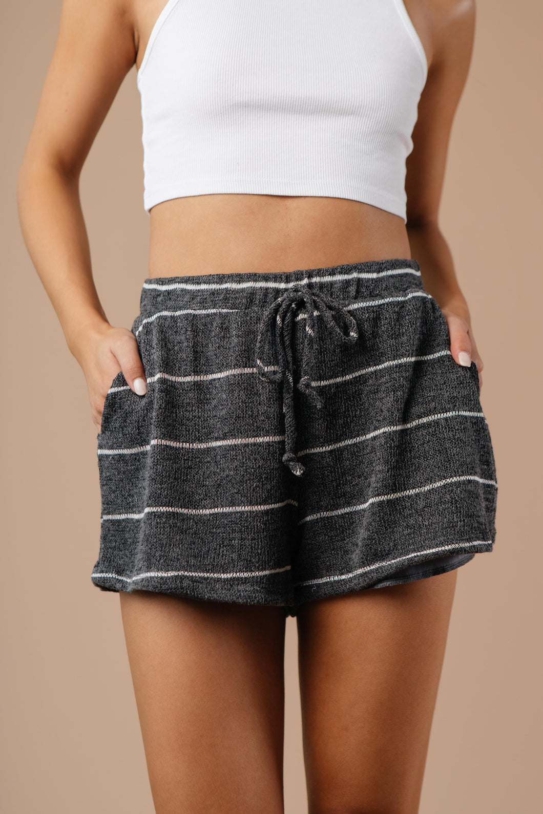 Willow Striped Shorts in Charcoal - Smith & Vena Online Boutique