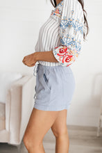 Load image into Gallery viewer, Drawstring Linen Shorts in Blue - Smith & Vena