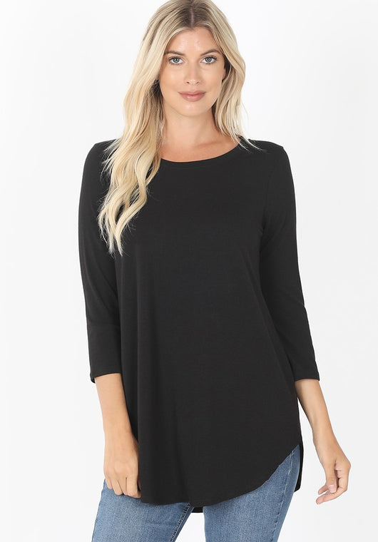 Logan 3/4 Sleeve Top - Black