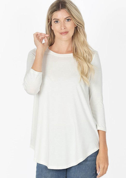 Logan 3/4 Sleeve Top - Ivory