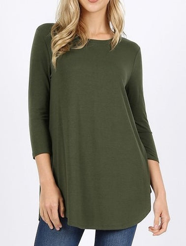 Logan 3/4 Sleeve Top - Army Green - Smith & Vena Online Boutique
