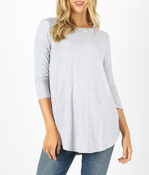 Logan 3/4 Sleeve Top - Heather Grey