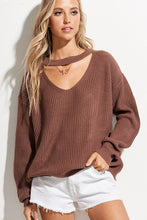 Load image into Gallery viewer, Michaela Keyhole Sweater - Raisin