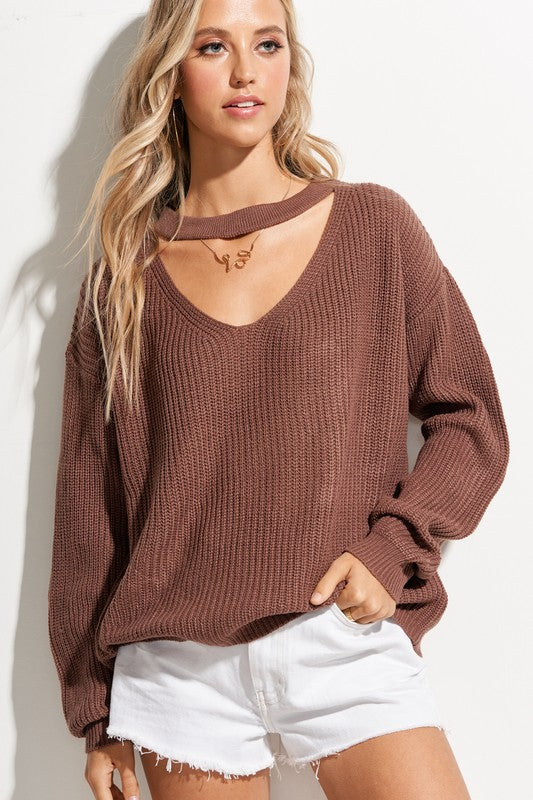 Michaela Keyhole Sweater - Raisin