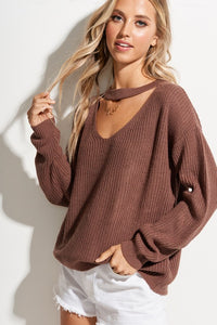 X Michaela Keyhole Sweater - Raisin - Smith & Vena Online Boutique