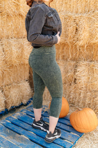 Mineral Wash Pants in Hunter Green - Smith & Vena Online Boutique