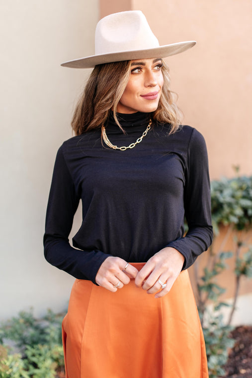 Jane Turtle Neck Top in Black