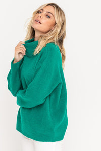 X Raven Mock Neck Sweater - Green - Smith & Vena Online Boutique