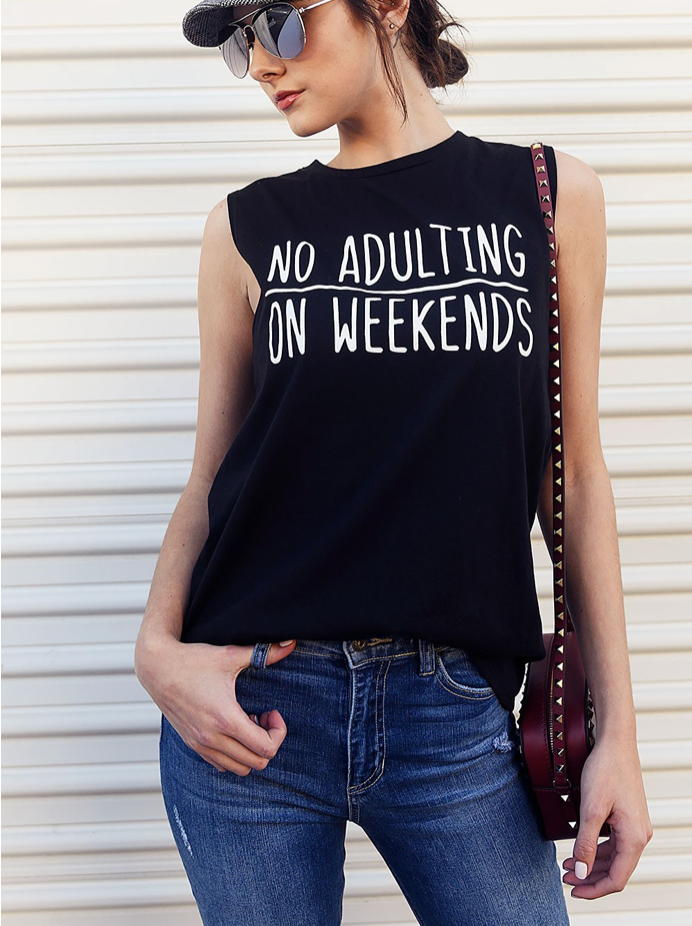X No Adulting Tank - Black - Smith & Vena Online Boutique